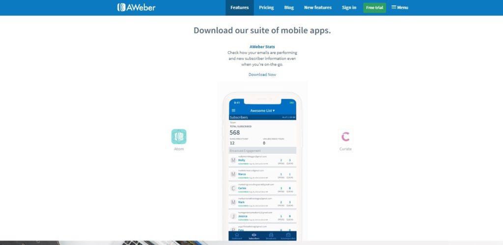 AWeber mobile app